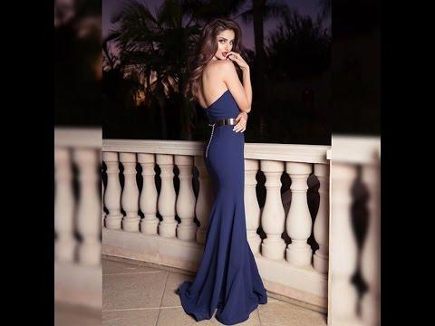 ملكة نساء الارض الايرانية مالاغا جابرى أثتاء عرضها لفستان رائع