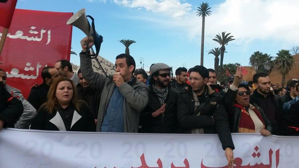 المآت يخرجون في مسيرة لاحياء حركة 20 فبراير + الصور