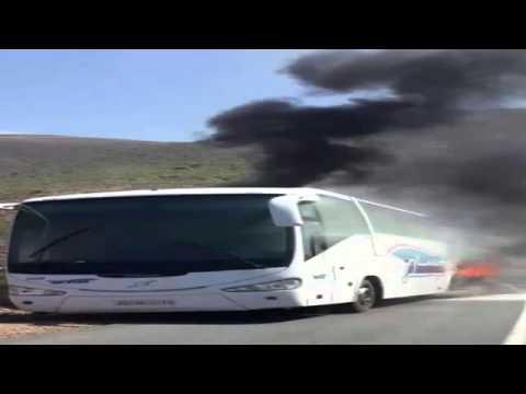 إندلاع حريق في حافلة بالكامل تابعة لشركة 'ساتيام
