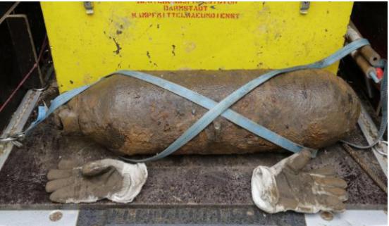 عمال بناء يعثرون على قنبلة تزم 125 كيلوغراما