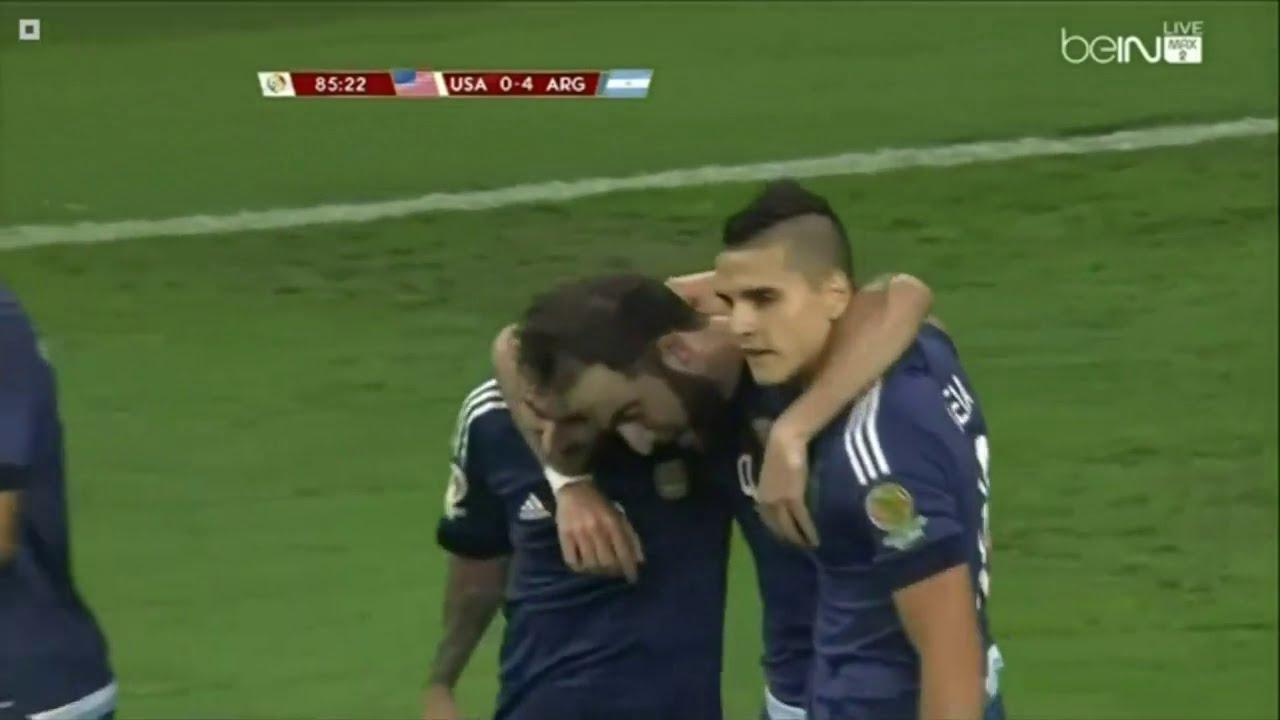 اهداف مباراة الارجنتين و امريكا 4-0