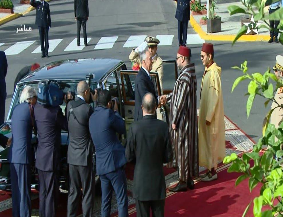 الاستقبال الرسمي من الملك محمد السادس لرئيس البرتغال بالقصر الملكي بالبيضاء