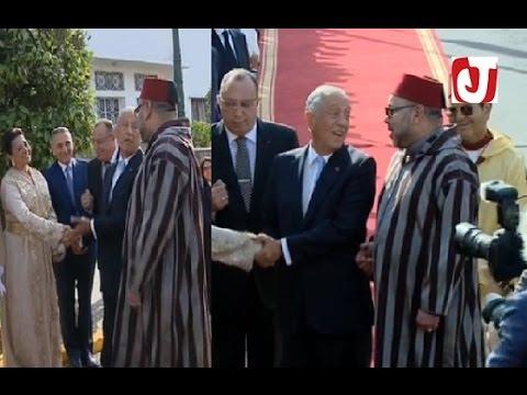 الرئيس البرتغالي يسلم كثيرا على سفيرة المغرب بحضور الملك