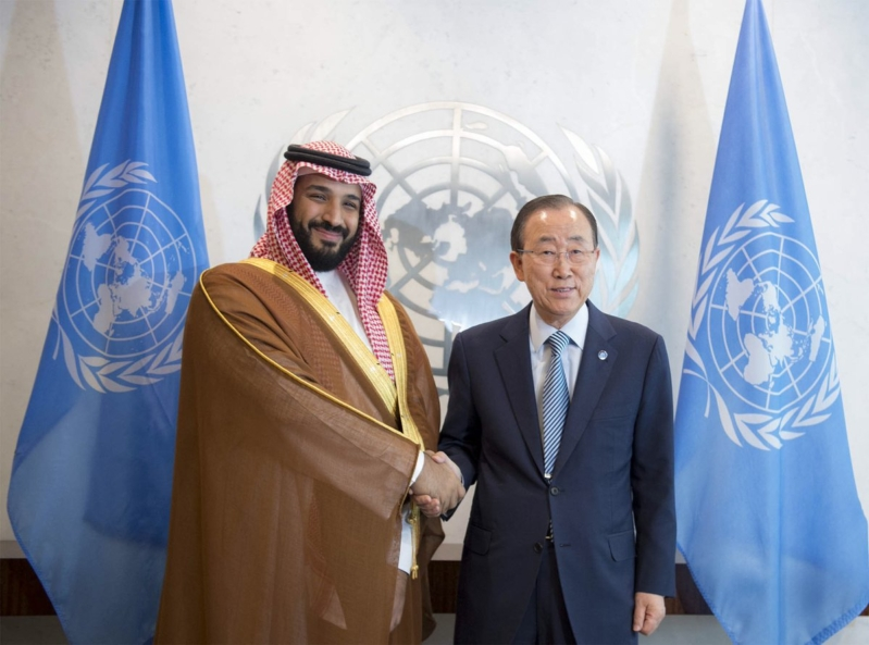 """ولي ولي العهد السعودي يلتقي بأمين عام الأمم المتحدة ويقول له """"لست غاضبا"""""""
