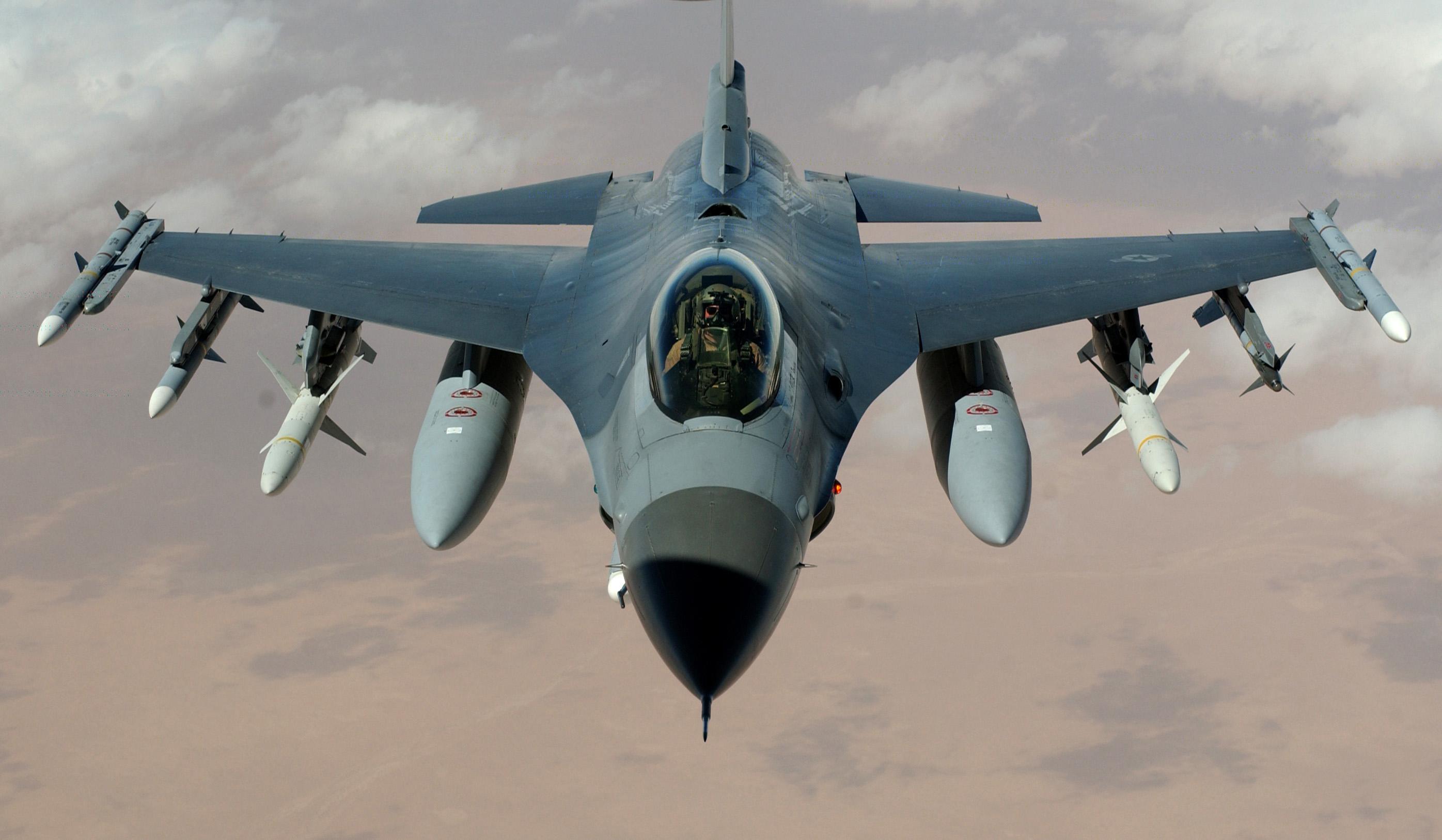 """وزير يقود طائرة حربية F16  لقصف مواقع """"داعش"""""""