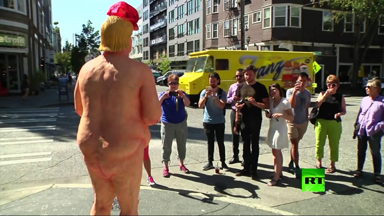"""""""ترامب"""" عاريًا في شوارع أمريكا"""