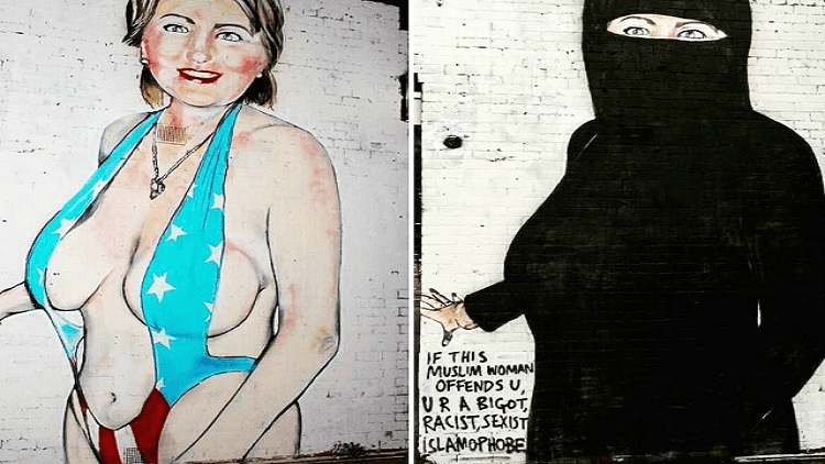 طمس جدارية لكلينتون وهي ترتدي لباس بحر ثم بعد ذلك نقاب في استراليا