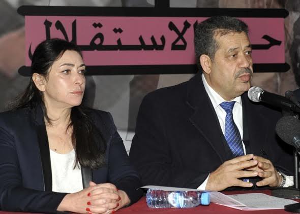 ياسمينة بادو….تحتج على شباط  في وقفة أمام مقر حزب الاستقلال بسبب عدم منحها التزكية الانتخابات