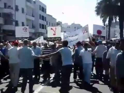 مظاهرة بالدارالبيضاء ضد بن كيران وحزب العدالة والتنمية