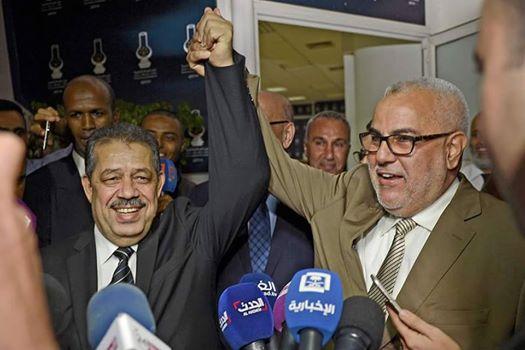 بنكيران جد فرح بعودة حزب الاستقلال ويرفع يد شباط معلنا الفوز ورسائل قوية
